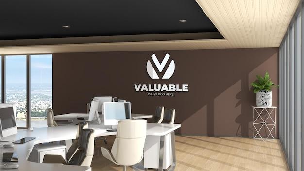 Makieta logo na ścianie w pokoju biurowym z brązową ścianą