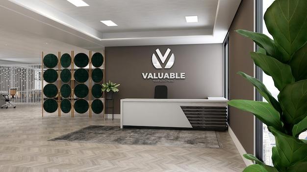 Makieta logo na ścianie w recepcji lub recepcjoniście