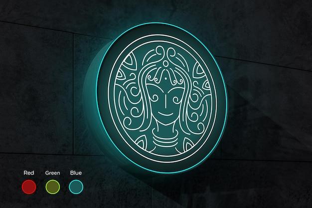 Makieta logo okrągłego znaku z edytowalnymi kolorami światła