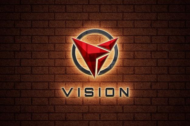 Makieta logo podświetlanego znaku na ścianie z cegły