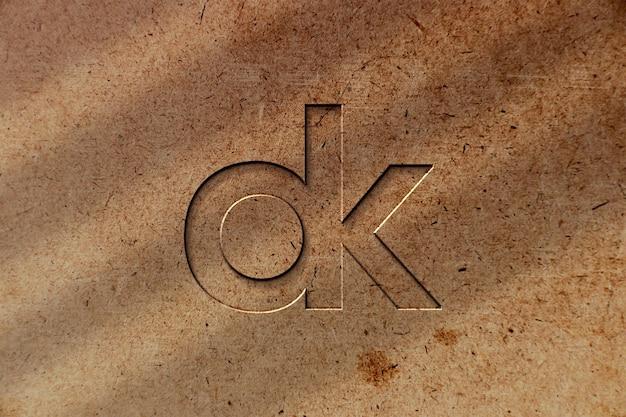 Makieta logo powierzchni drewna