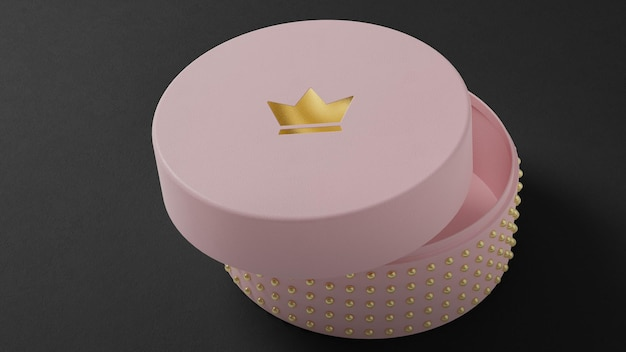 Makieta logo różowego pudełka z biżuterią do brandingu na czarnym tle renderowania 3d
