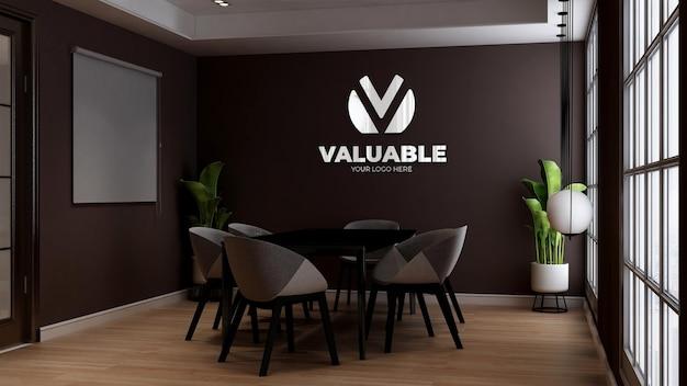 Makieta logo ściany kawiarni w sali konferencyjnej kawiarni lub restauracji