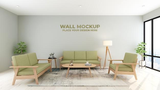 Makieta logo ściany poczekalni nowoczesnego biura ze świeżą zielenią