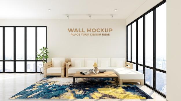Makieta logo ściany poczekalni nowoczesnego biura