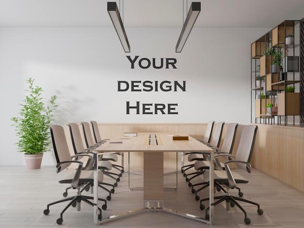 Makieta logo ściennego obszaru roboczego w pokoju biurowym premium psd