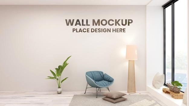 Makieta logo ściennego w minimalistycznym salonie