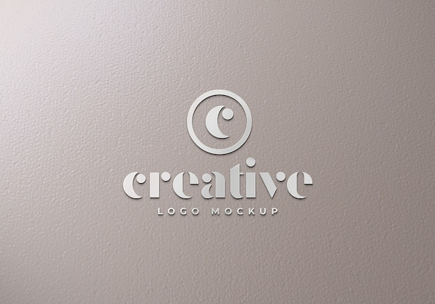 Makieta logo silver front premium psd