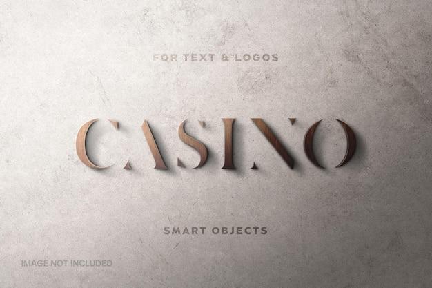 Makieta logo tekstury drewna i efekt tekstowy