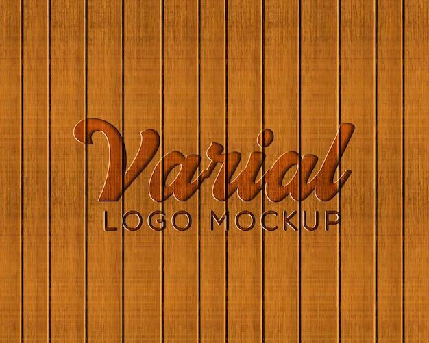 Makieta logo tłoczone deski drewniane