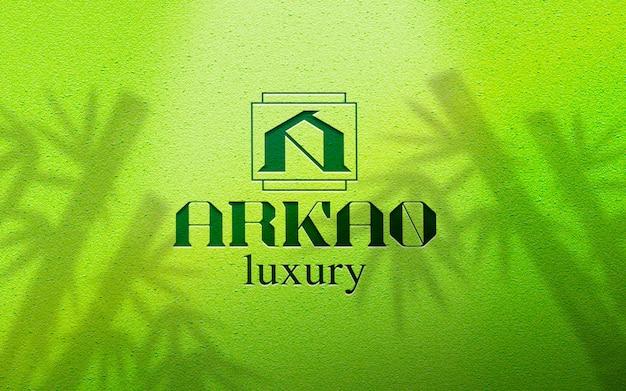 Makieta logo tropikalny bambusowe ściany betonowe