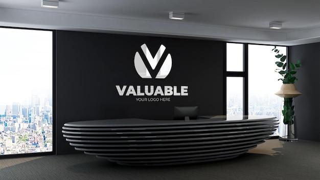 Makieta logo w biurze recepcjonistka o minimalistycznym i eleganckim wystroju wnętrz