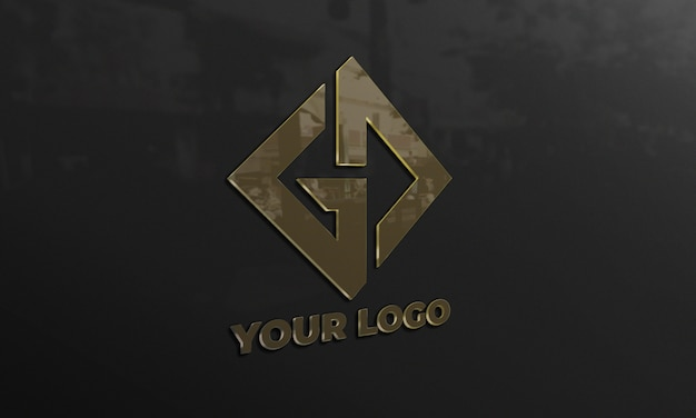 Makieta logo w czarnej ścianie