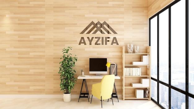 Makieta logo w minimalistycznym drewnianym obszarze roboczym