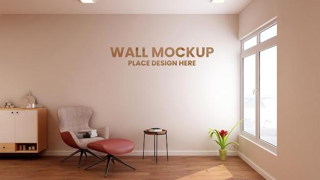 Makieta logo wwall w minimalistycznym salonie