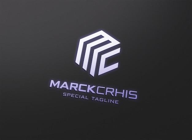 Makieta logo z efektem neonu