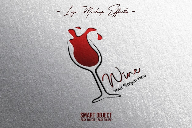 Makieta logo z logo wina
