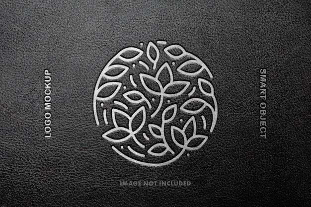 Makieta logo z tłoczonej skóry