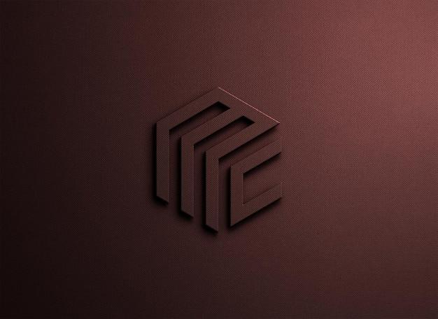 Makieta logo z wytłoczonym renderowaniem w stylu