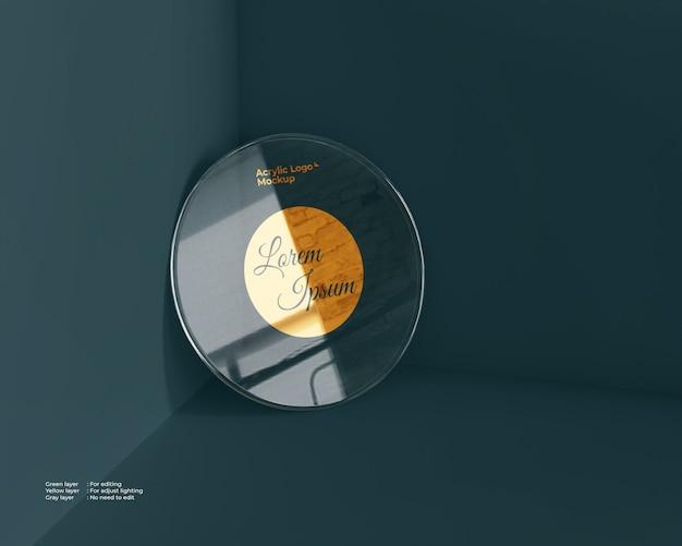Makieta logo ze szkła akrylowego w kształcie koła