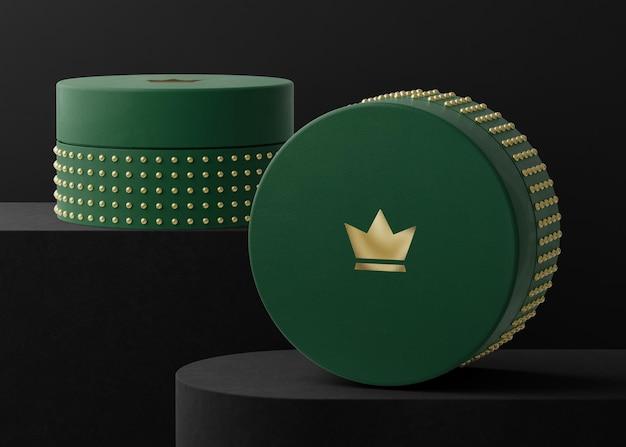 Makieta logo zielone pudełko z biżuterią renderowania 3d
