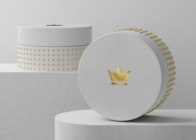 Makieta luksusowego logo na białym pudełku z biżuterią do renderowania 3d tożsamości marki