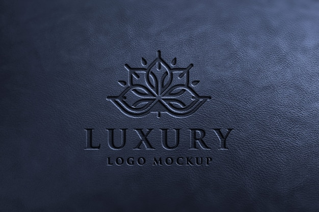 Makieta luksusowego logo na czarnej skórze