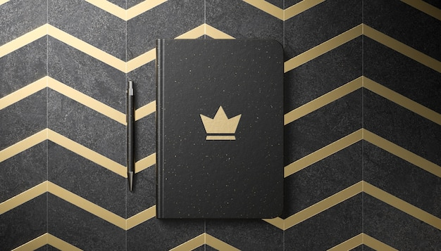 Makieta luksusowego logo na czarnym pamiętniku w renderowaniu 3d