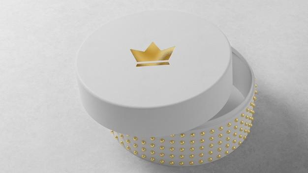 Makieta luksusowego logo na okrągłym białym pudełku z biżuterią
