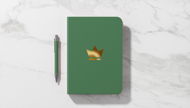 Makieta luksusowego logo na zielonym pamiętniku