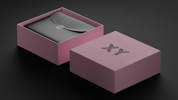 Makieta luksusowego logo w różowym pudełku dla tożsamości marki
