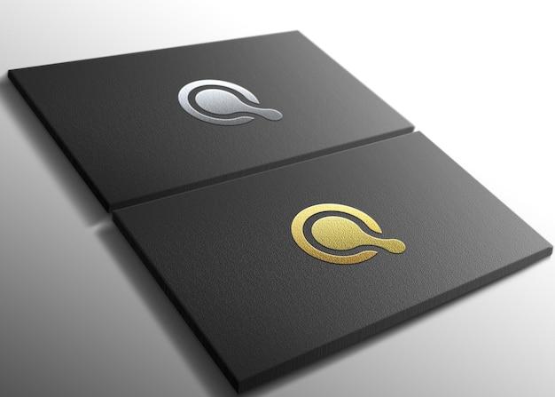 Makieta luksusowego złotego i srebrnego logo