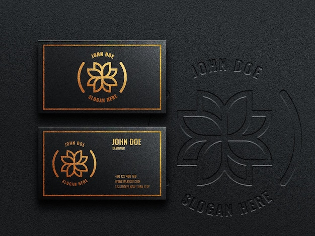 Makieta luksusowej ciemnej wizytówki z efektem wytłoczonym i wytłoczonym