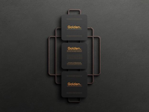 Makieta luksusowej wizytówki ze złotej folii