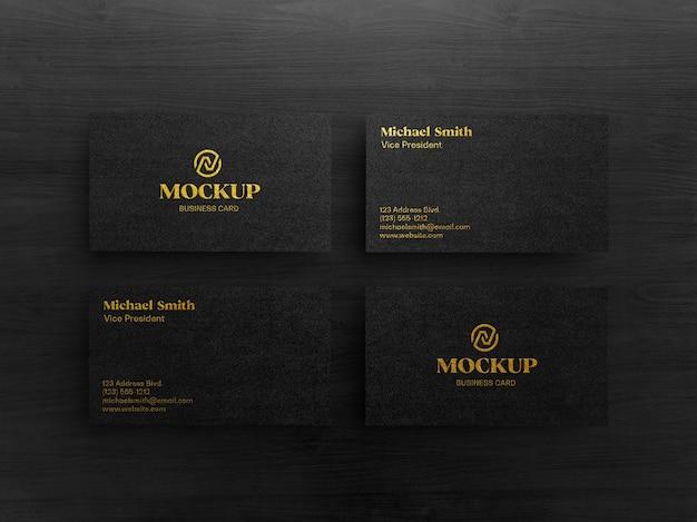 Makieta luksusowej złotej czarnej wizytówki