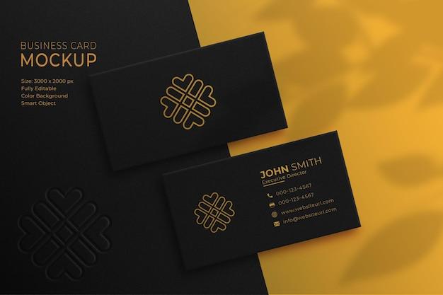 Makieta luksusowych wizytówek złota i czerni