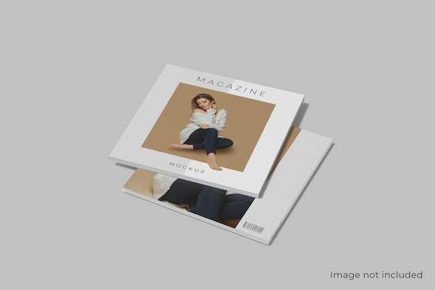 Makieta magazynu kwadratowego przedniej i tylnej okładki na białym tle