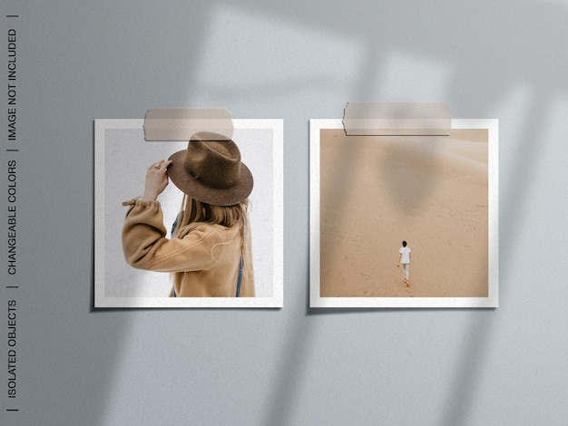 Makieta makiety moodboardu ściennego z zestawem kolaży z zaklejonych kart fotograficznych