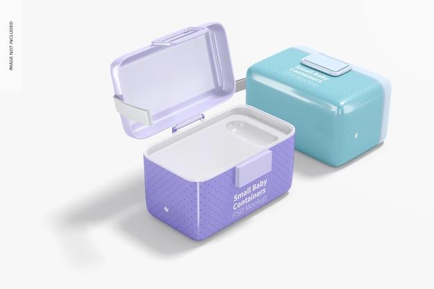 Makieta małego pojemnika na mleko w proszku dla niemowląt, widok z lewej strony