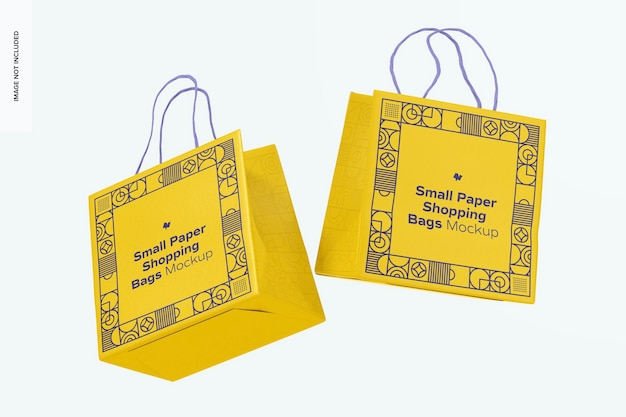 Makieta małych papierowych toreb na zakupy, pływająca