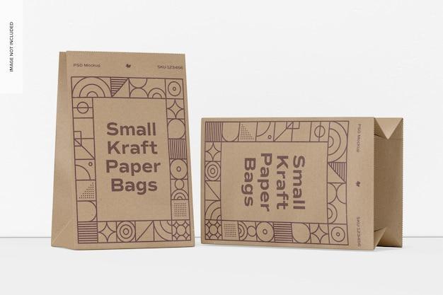 Makieta małych toreb papierowych kraft, upuszczona