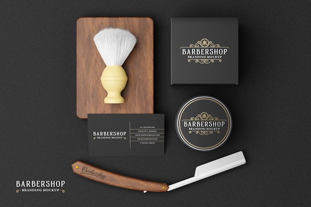Makieta marki barbershop w ciemnym motywie
