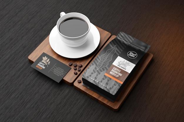 Makieta marki kawy w czarnym motywie