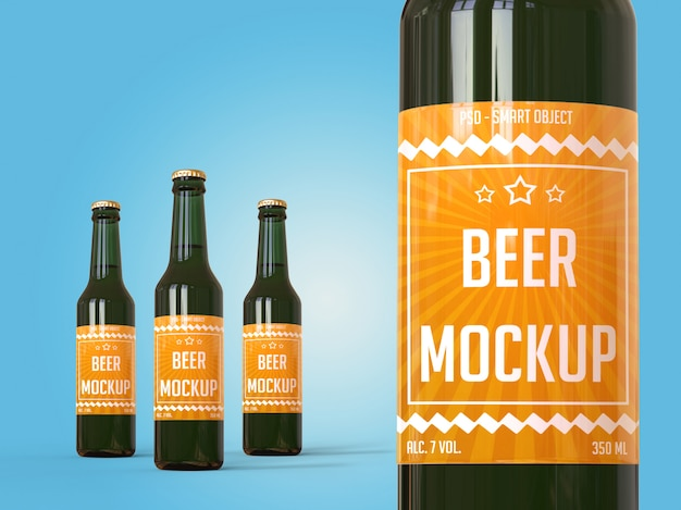 Makieta marki koncepcja, butelki piwa z etykietą