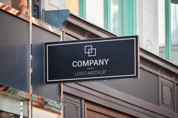 Makieta marki logo. zewnętrzny znak sklepu, prostokątny kształt