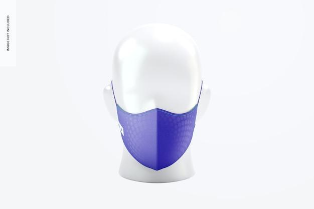 Makieta maski na twarz z elastycznymi opaskami, widok z przodu