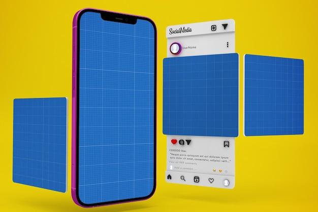 Makieta mediów społecznościowych na smartfony