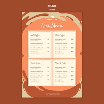 Makieta menu koncepcji kawy
