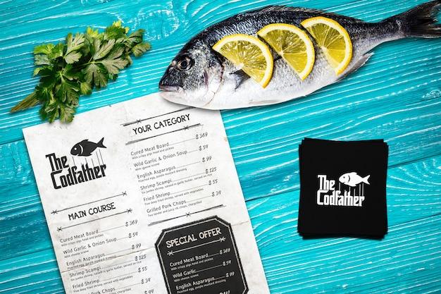 Makieta menu restauracji z owocami morza