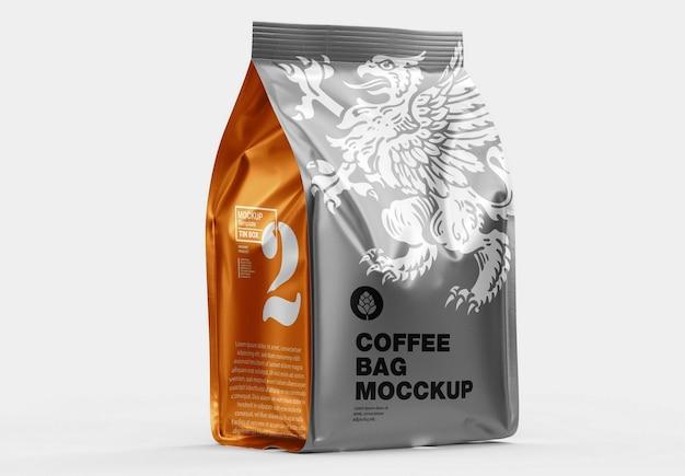 Makieta metalicznej papierowej torby na kawę